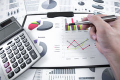 Man hand and business report Stock Images