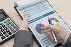Man hand with business report Royalty Free Stock Images