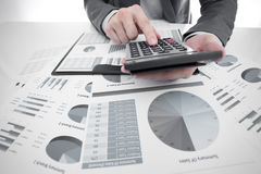 Man hand with business report Stock Image