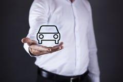 Man hand car model in screen stock photo