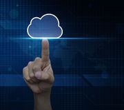 Man hand click on cloud icon with copy space over digital world stock photography