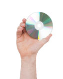 Man hand with compact disc isolated Stock Images