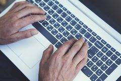 Free Man Hand Computer In Nature Stock Images - 160009084