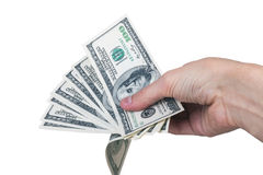 Man hand with 100 dollar bills isolated on a white background Stock Photos