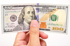 Man hand with 100 dollar bills Royalty Free Stock Photos