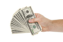 Man hand with dollars Stock Images