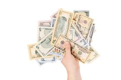 Man hand with dollars. Stock Images