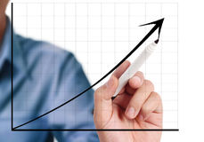 Man hand drawing a chart Stock Images