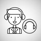Man hand drawing listening music headphones Stock Photo