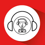 Man hand drawing listening music headphones Royalty Free Stock Image
