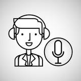 Man hand drawing listening music microphone Stock Photo