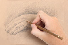 Man hand drawing picture with palm Stock Image
