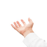 Man hand with empty place, isolated on white Stock Images