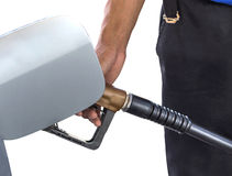 Man hand fill up fuel gas. Royalty Free Stock Photos