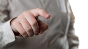 Man hand finger presses Stock Image