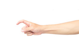 Man hand forefinger with pain on white background, health care a. Nd medical concept Stock Image