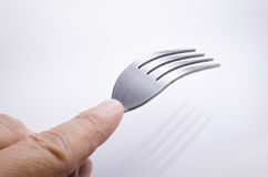 Man hand with fork isolated Royalty Free Stock Image