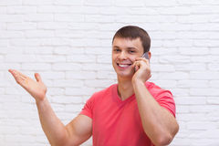 Man Hand Gesture To Copy Space Cell Phone Call Stock Image