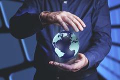 Man hand globe royalty free stock image