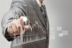 A man hand graph Stock Images