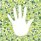 Man hand in green icons Royalty Free Stock Image