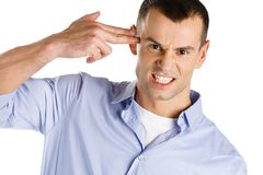 Man hand gun gesturing. Disappointed man hand gun gesturing, isolated Stock Photo
