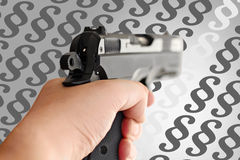 Man with hand gun pistol rubber attack violence photomanipulation. Real hand gun pistole 9mm for your design stock photo