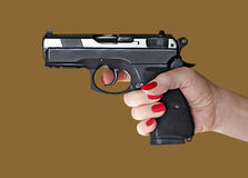 Man with hand gun pistol rubber attack violence photomanipulation. Man with hand gun pistol rubber attack violence for your design royalty free stock photography