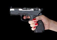 Man with hand gun pistol rubber attack violence photomanipulation. Man with hand gun pistol rubber attack violence for your design stock photos