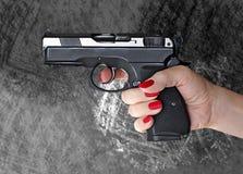 Man with hand gun pistol rubber attack violence photomanipulation. Man with hand gun pistol rubber attack violence for your design royalty free stock photos