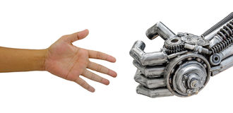 Man hand  handshake with cy-ber robot isolated on white backgrou Stock Photo