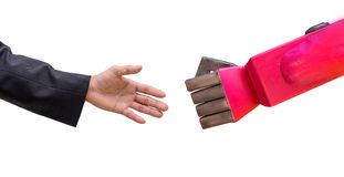 Man hand  handshake with cy-ber robot isolated on white backgrou Stock Images