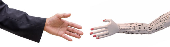 man hand  handshake with cy-ber robot isolated on white Royalty Free Stock Photography