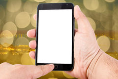 Man hand hold blank touch screen smart phone Royalty Free Stock Photography