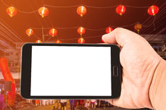 Man hand hold blank touch screen smart phone. Stock Images