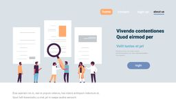 Man hand hold magnifying zoom cv resume team choosing people candidate for vacancy job position recruitment concept flat. Copy space horizontal vector Royalty Free Stock Images