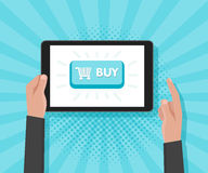 Man hand hold tablet computer with website template buy buttons. Vector illustration.  Stock Images