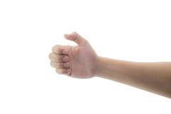 Man hand hold virtual gesture, sign, symbol something Stock Photo
