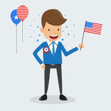Man Hand Holding American Flag of Memorial Day and Happy Independence Day USA. Concept Vector Illustration Flat Style. Stock Image