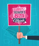 Man Hand Holding Banner With Happy Women Day Greeting On Abstract Blue Background Retro Style. Flat Vector Illustration Stock Photos