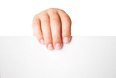 Man hand holding blank advertising card on white Stock Photos