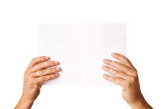 Man hand holding blank advertising card on white Royalty Free Stock Images