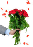 Man hand holding bunch of roses Stock Photo