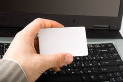 Man hand holding credit blank card royalty free stock photography