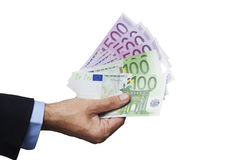 Man Hand Holding Euros Stock Images