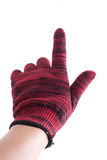 Man hand holding finger in glove on a white background. Royalty Free Stock Images
