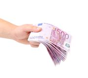 Man hand holding five hundred euro bills. Stock Images