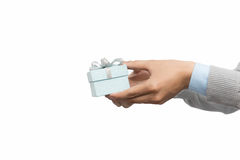 Man hand holding a gift box Stock Image