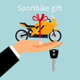 Man hand holding gift sportbike. Man holding in hand on palm sportbike with red ribbon. Sportbike gift concept, vector illustration Royalty Free Stock Photography