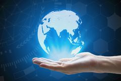 Man hand holding global network and global communication , hand Stock Photo